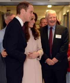 Prince William, Duke of Cambridge and Catherine, Duchess of Cambridge during an official visit to Peterborough City Hospital