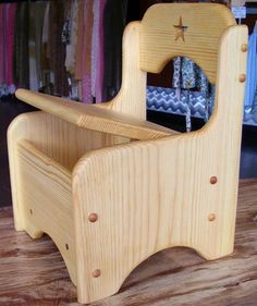 "The Storage Chair is made out of solid pine with solid brass hinges. It comes fully assembled,sanded smooth and is finished with non-toxic linseed oil. Kids love to keep their treasures close, and this chair is a huge hit! The roomy interior can be used for art supplies, blocks, small toys and everything in between. Sized for kids aged 1 to 4 years old, with custom size orders welcome. Seat sits at 7 1/2 "" H and chair is 11"" W ."