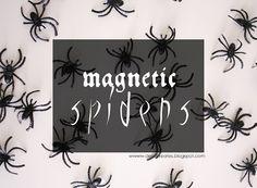 fun halloween idea! Magnetic Spiders