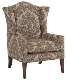 Burton James chair, high wing back with velvet upholstery