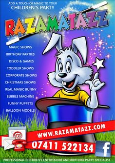 Razamatazz Flyer Toddler Shows, Balloon Modelling, Bubble Machine, Magic Show, Christmas Shows, Childrens Party, Your Child, Birthday Parties, Balloons