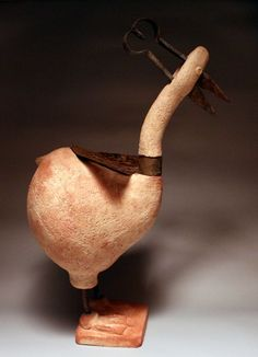 Samott clay - 1250 c Birds Sculptures or statue by artist Bende R�bert titled: 'Ceramik stylized Bird (ceramic Contemporary Fun Witty Amusing statue)'