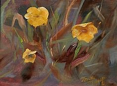 Yellow Pansies by Tommy Thompson Oil ~ 8 x 10