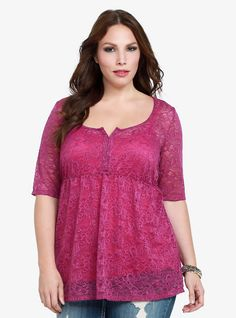 Lace Tunic Top, HOLLYHOCK