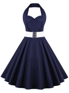 50s Navy Blue Halter Pure Color Belt Vintage Dress