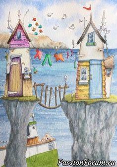 Aquarell : watercolour in 2019 House Illustration, Watercolor Illustration, Watercolor Paintings, Illustrations, Watercolour, Art Plage, Art Fantaisiste, Art Mignon, Happy Paintings