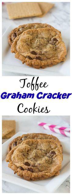Toffee Graham Cracker Cookies – Crisp graham cracker cookies with warm chocolate…