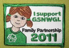 Girl Scout Northwestern Great Lakes 100th Anniversary Family Partnership patch. GSNWGL.
