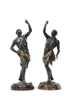 A pair of Italian parcel-gilt patinated bronze figures of blackamoors on naturalistically carved brèche violette marble bases circa 1865 Estimate 10,000 — 15,000 US  LOT SOLD. 164,500