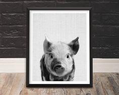 Nursery Animal Art Pig Print Pig Print Baby by TrendingArtPrints