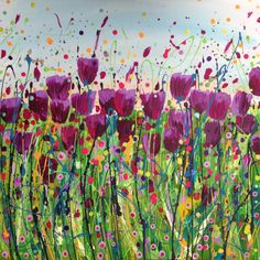 Tulip Field By Leanne Hughes Acrylic abstract art painting on canvas