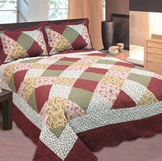 Mk Collection King Size Bedspread Floral Patchwork Off White Burgundy Pink Beige Coverlet Set New 3 pc Coverlet Set. 1 Bedspread King: Our quilt sets can also be used as bedspreads, coverlets, comforters and room decoration art craft. Pink Beige, White Burgundy, Twin Quilt Size, Queen Size Quilt, Bed Cover Sets, Bed Covers, Colchas Country, Designer Bed Sheets, Quilted Bedspreads