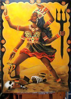 Kali goddess oil painting by Brittany Jade Kali Ma, Kali Goddess, Durga Maa, Tantra, Shiva, Goddesses, Wonder Woman, Watercolor, Superhero