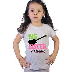 Big Sister rocks with black guitar Shirt for Girls by shirtsbynany, $14.99