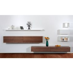 Trento IV White-Walnut Wall Storage System online - FASHION FOR HOME