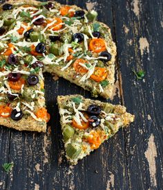 Millet Kale Chickpea Quiche Pizza topped with Okra, golden cherry tomatoes, bell peppers. glutenfree vegan recipe - Vegan Richa