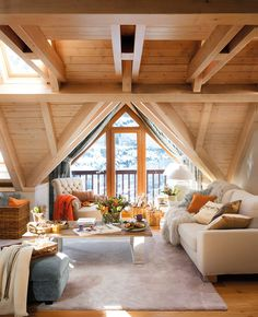 house interior rustic The owner of this mountain cottage retreat in the Val d'Aran in the Pyrenees Mountains, Spain wanted a cozy home where he could go to sleep looking at the st Home Design, Decor Interior Design, Interior Decorating, Design Ideas, Decorating Ideas, Attic Design, Design Bedroom, Mountain Cottage, Mountain Houses
