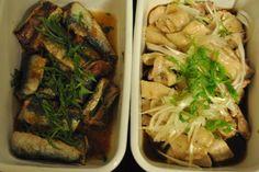 常備菜 : イワシの唐揚げの梅シソ醤油和え、ネギと鶏もも肉の蒸し煮