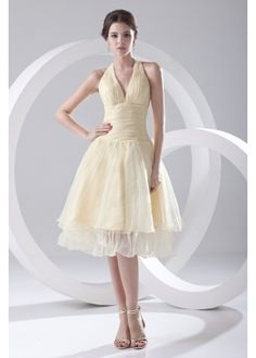 Halter Knee Length Organza over Satin Party Dress with Pleating Organza Bridesmaid Dress, Bridesmaid Dresses Under 100, Tea Length Bridesmaid Dresses, Organza Dress, Prom Dress, Junior Bridesmaids, Skater Dresses, Tulle, Formal Dresses Uk