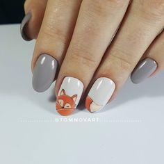 16 atemberaubende Nail Art Trendideen für 16 stunning nail art trend ideas for Bright is the new sweet. Even the Duchess of Cambridge and the Royal line, by many. 16 stunning nail art trend ideas for Trendy Nails, Cute Nails, Cute Fall Nails, Fox Nails, Nail Drawing, Thanksgiving Nail Art, Animal Nail Art, Autumn Nails, Nails Design Autumn