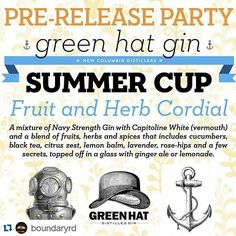 In case you missed our email we are having a Pre-Release party for our #greenhatsummercup tomorrow 7.21.  #Repost @boundaryrd  This TUESDAY JULY 21 at 5PM be the first to taste @dcdistillers Summer Cup cordial made with Green Hat Navy Strength Gin & @capitolinevermouth White Vermouth  by dcdistillers
