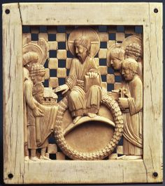 Otto I Presenting Magdeburg Cathedral to Christ, One of series of 17 ivory plaques known as the Magdeburg Ivories, possibly carved in Milan c. 962-968, Ivory, Pg. 446