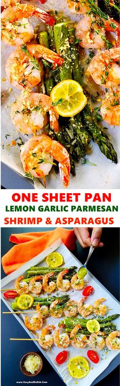 One sheet pan lemon garlic Parmesan shrimp and asparagus that can be prepared in less than 30 minutes. It is a no hassle, mess-free, elegant meal! #shrimp #onesheetpan #asparagus #dinner