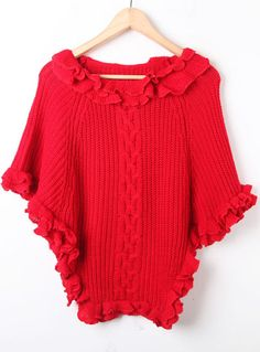 $47  Red Batwing Ruffles Cape Pullovers Sweater