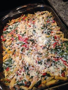 21 Day Fix - 8 greens (frozen spinach, peppers and 1 big can diced tomatoes) ground turkey (1 lb) 4 reds low fat ricotta cheese 8 yellows whole grain pasta 4 blues mozzarella cheese = 8 lunches of 1R, 1G, 1Y, 1/2 B I divide into 8 measure pasta after cooking. I used a 1lb bag frozen spinach, a 1 lb bag frozen tricolored peppers and a 28 oz can of petite diced tomatoes (partly drained) for the greens.  cook everything separate and then mix together into 9x13 and bake at 400 for 15 minutes.