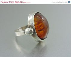 CLEARANCE SALE, A Mid Century Naturalist Pearce Sterling Baltic Amber Ring for Man or Woman. England. Size 5.. The Old Junk Trunk. on Etsy, $45.00