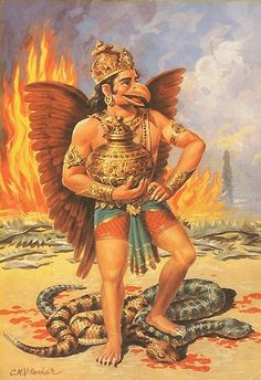 Garuda is the kind of the birds and often acts as a messenger between the gods and men.