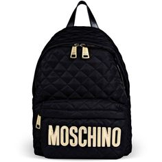 Moschino Rucksack featuring polyvore, fashion, bags, backpacks, black, moschino backpack, logo bags, zip bags, black zip bag and knapsack bags