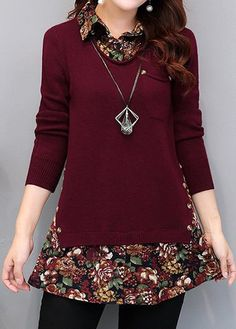 Fashion New Autumn Burgundy Turn down Collar Faux Two Piece Sweater Casual Loose Print Patchwork Long Sleeve Knit Pullover Add an 'underlayer'!trendy tops for women online on saleShop Womens Fashion Tops, Blouses, T Shirts, Knitwear Online Fashion Sewing, Diy Fashion, Fashion Dresses, Color Fashion, Fashion Tips, Sewing Clothes, Diy Clothes, Stil Inspiration, Kleidung Design