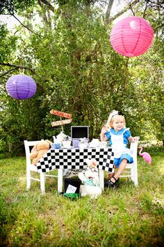 Alice in Wonderland Mad Hatter Tea Party theme kids photo shoot