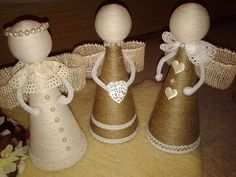 Image gallery – Page 392235448794882029 – Artofit Rustic Christmas Ornaments, Burlap Christmas, Christmas Deco, Christmas Angels, Handmade Christmas, Christmas Bazaar Crafts, Christmas Crafts, Twine Crafts, Diy Crafts Vintage