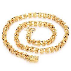 Hombres collar de cadena de joyería de la boda de 18 K chapado en oro collar de cadena del dragón de lujo cadena de oro para los hombres al por mayor(China (Mainland))