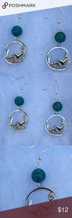 Green Chrysocolla Silver Mermaid Earrings These beautiful earrings are made with natural Chrysocolla and silver tone mermaid charms. The hooks are sterling silver plated.   All PeaceFrog jewelry items are handmade by me! Take a look through my boutique for coordinating jewelry and more unique creations. PeaceFrog Jewelry Earrings