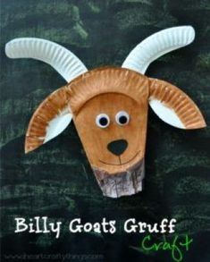 This craft is based off of the Three Billy Goats Gruff. It is a billy goat mask. Each student will g. Paper Plate Crafts For Kids, Daycare Crafts, Fun Crafts For Kids, Toddler Crafts, Book Crafts, Craft Kids, Paper Crafts, Cow Craft, Simple Crafts