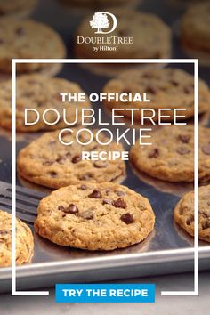 Miss our famous DoubleTree chocolate chip cookies? For the first time ever, we're revealing the full recipe, so that you can make these tasty dessert treats at home. And we will be ready to welcome you with a warm cookie when you're ready to travel again. Candy Cookies, Cookie Desserts, Yummy Cookies, Cupcake Cookies, Chip Cookies, Just Desserts, Cookie Recipes, Delicious Desserts, Dessert Recipes