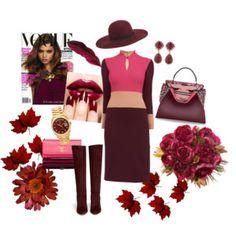 """""""A colour for Autumn- Burgundy Chic"""" Monika Csutak Colour-block Wool-crepe dress"""