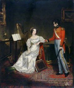 George Clint (style of), 'The Betrothal of Princess Charlotte and Prince Leopold', Brighton&Hove Museums and Art Galleries. Whilst BBC dates this to c.1816, taking for granted that the painting's origin is coterminous with the event of its subject's engagement, I actually think this is a nostalgic work completed after the Princess's death. For this gown looks to be fashionable for the period c.1820-5, and out of place when compared to other portrayals of Charlotte.