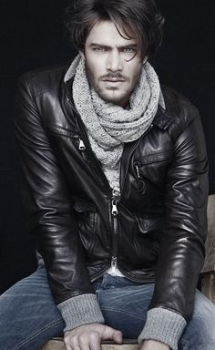 scarf and leather jacket