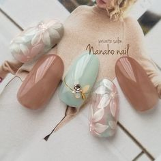 Pretty Nail Art, Cute Nail Art, Cute Acrylic Nails, Acrylic Nail Designs, Gel Nail Art, Pastel Nails, Japanese Nail Design, Japanese Nail Art, Classy Nails