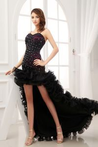 High-low Sweetheart Beading Ruffled Black Pageant Evening Dress