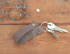Leather key chain handmade key fob leather keychain by KodamaLife