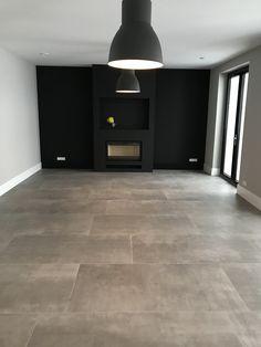 betonlook tegels marazzi memento Canvas 75 x 150 cm Dark Tile Floors, Ceramic Floor Tiles, Home Renovation, House Plans, New Homes, Room Decor, Flooring, Architecture, Future