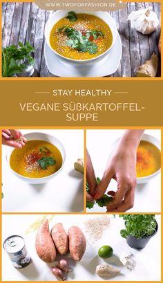 #rezept #süßkartoffelsuppe #vegan #healthy #suppe Diese wärmende Süßkartoffelsuppe mit Ingwer, Koriander, Kokosmilch und noch vielen weiteren gesunden Zutaten, versorgt euch mit wichtigen Nährstoffen und Vitaminen. Vor allem aber überzeugt sie mit ihrem unglaublich leckeren, fruchtig-exotischen Geschmack. Nachkochen lohnt sich!