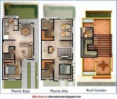 Plano 3D casa tres pisos
