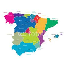 Best Spain Map Vector with colored regions #Illustration #map #maps #spain #spanish
