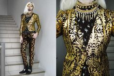 Tnc Crumpled Gold Stamped Baroque Print Stretch Skinny Blazer, F&H Swallow Print Shirt, Brocade Trousers, Rajo X Milanos Silver Plated Boot, Tnc Gold Neckpieces